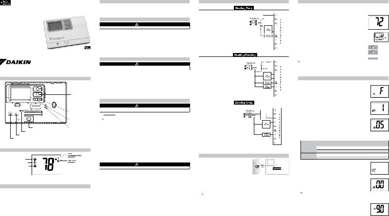 Daikin 668811201 Thermostat Installation, operation