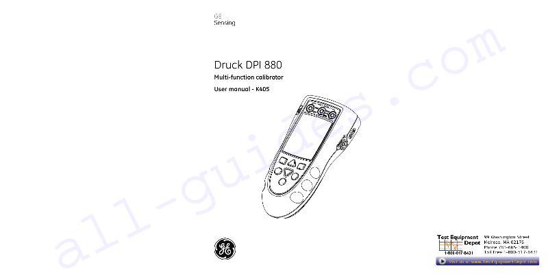 GE Druck DPI 880 Test Equipment Operation & user's manual
