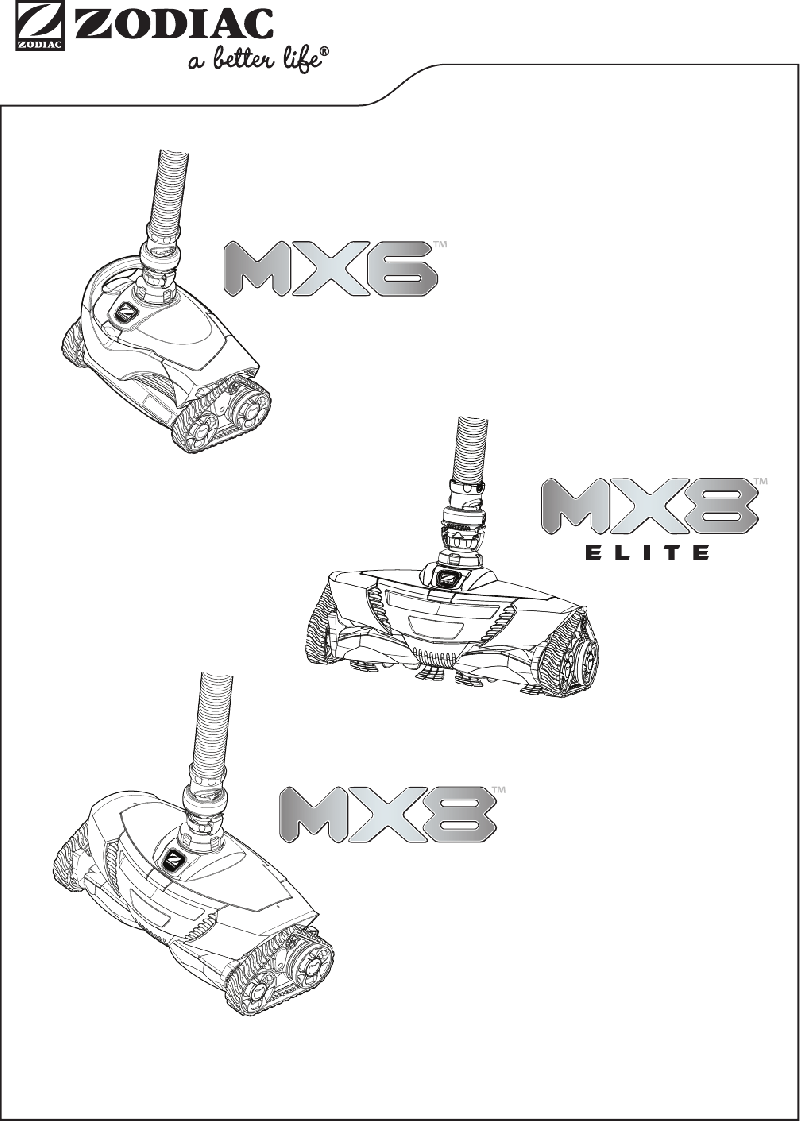 Zodiac MX8 Elite Swimming Pool Vacuum Owner's manual PDF
