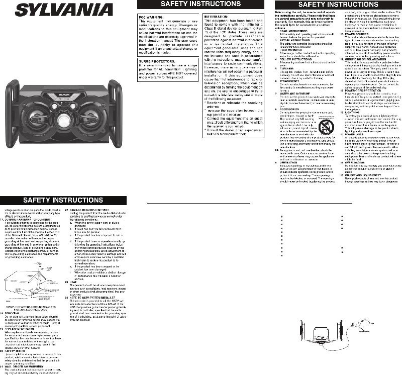 Sylvania SP333-DG Speakers Instruction manual PDF View