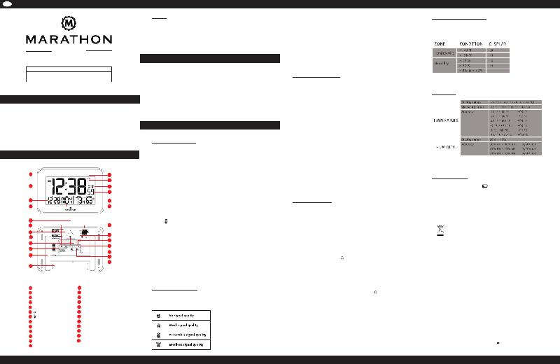 Marathon CL030060 Clock Operation & user's manual PDF View