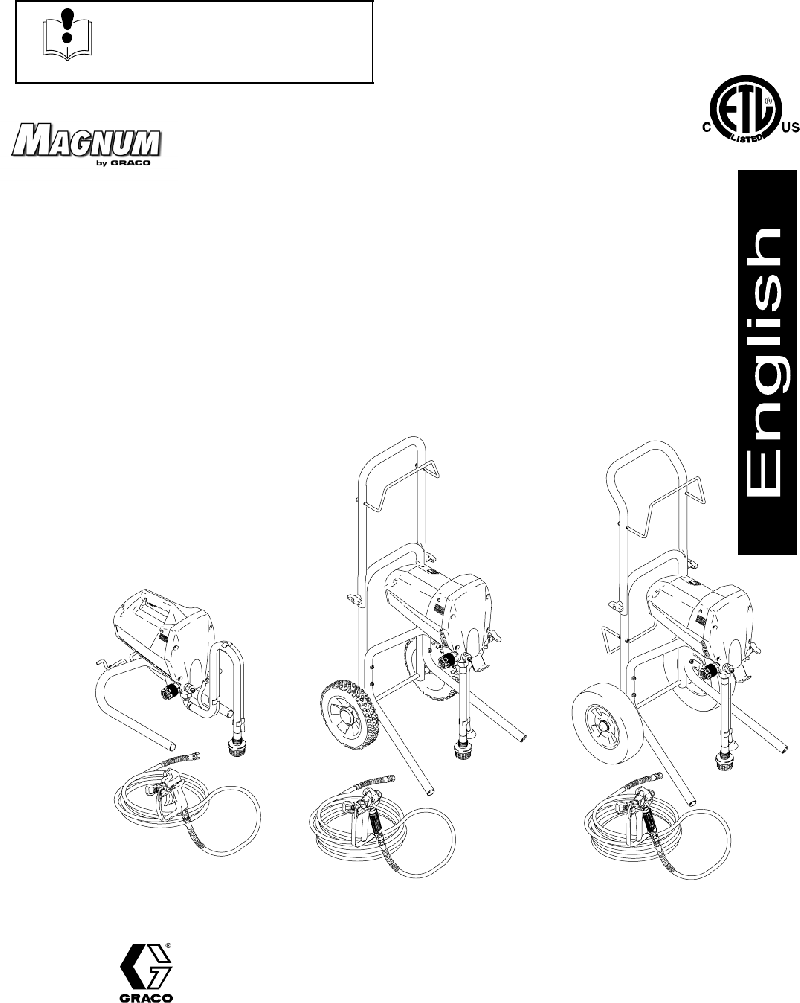Graco Magnum XR9 Paint Sprayer Operating instructions