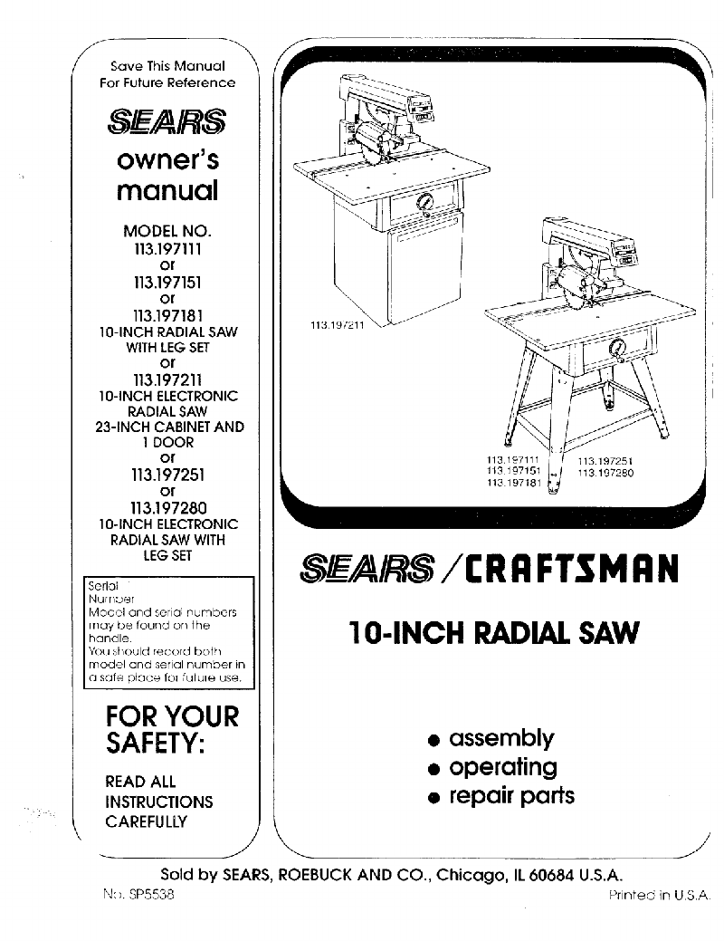 Sears 113.197280 Saw Owner's manual PDF View/Download