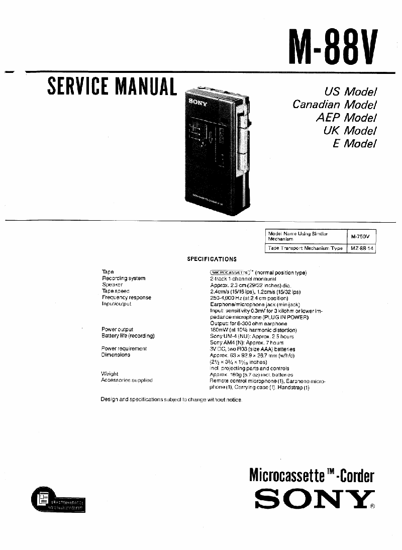 Sony M-88V Microcassette Recorder Service manual PDF View