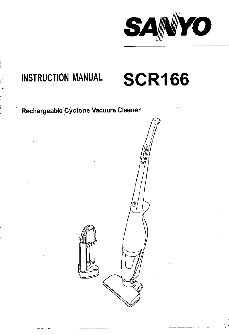 Sanyo SC-R166 Vacuum Cleaner Instruction manual PDF View