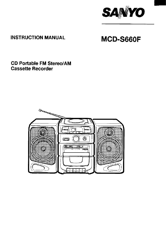 Sanyo MCD-S660F Cassette Player Instruction manual PDF