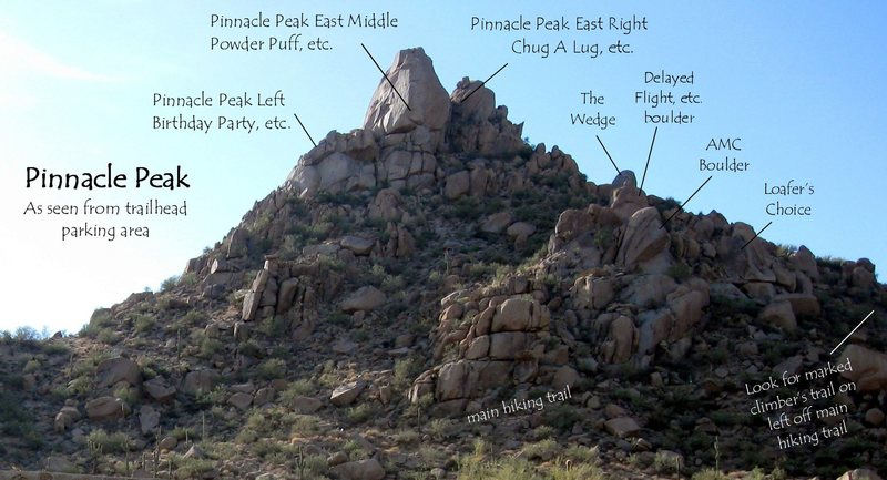 From the parking lot, head accros the bridge past the ranger station and bathrooms and start uphill. Pinnacle Peak As Seen From The Trailhead Parking Area