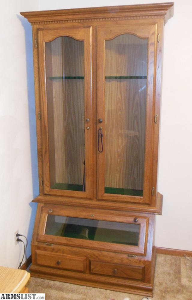ARMSLIST  For Sale Wood Gun Cabinet for sale