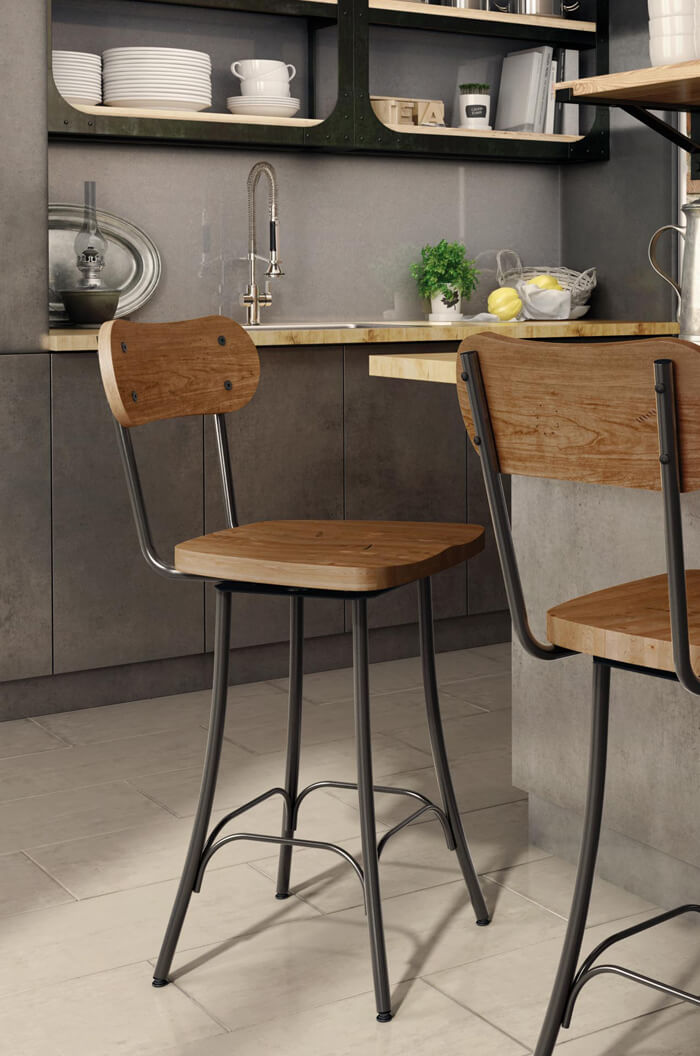 unfinished kitchen chairs hook on chair vs high amisco's bean swivel stool (wood seat) #41268