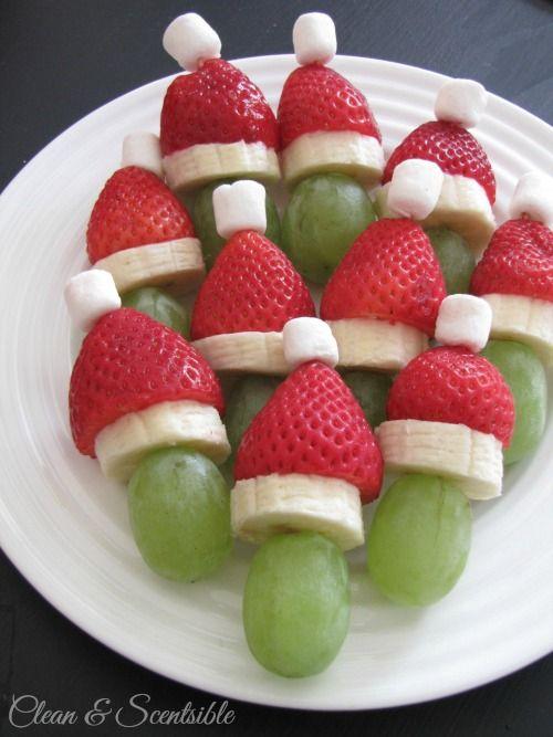 Santa Hat Fruit Skewers