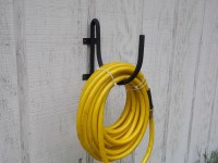 Wall mount garden hose holder black wrought iron