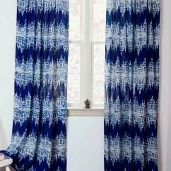Vintage Kitchen Curtains The Orleans Island Navy Blue Ikat - Printed | Ichcha