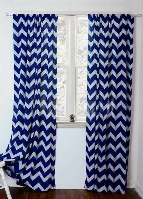 Blue Chevron Curtains  Hand Printed And Indigo Dyed Ichcha