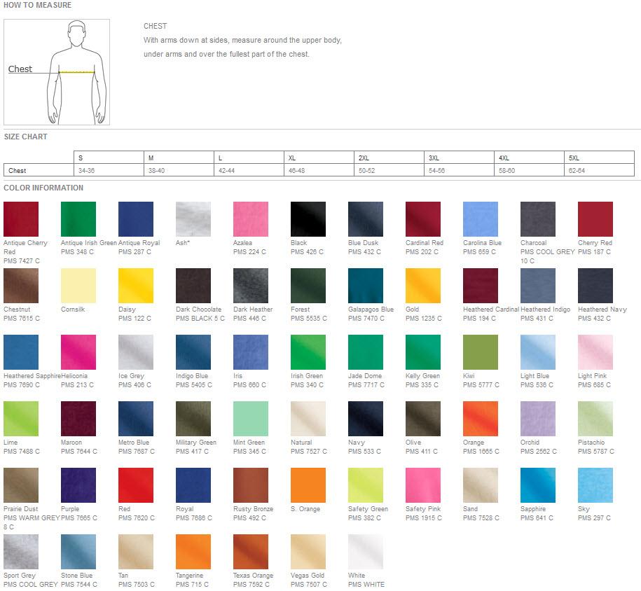 Gildan Long Sleeve T Shirts Color Chart Homeschoolingforfree