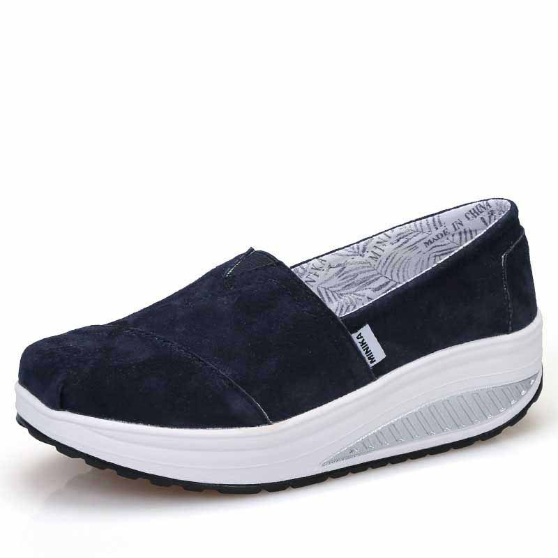 Womens Navy Canvas Slip On Shoes
