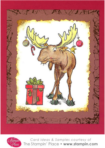 Christmas Moose With Present Card Ideas Amp Samples