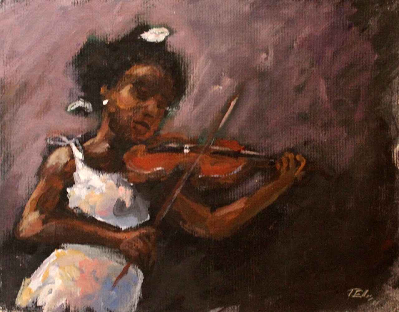 Young Violinist - T Ellis Fine Art