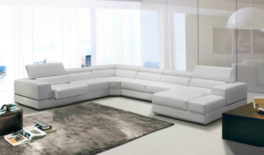 divani casa 5106 modern white italian leather sectional sofa how to wash dfs cushions bonded ...