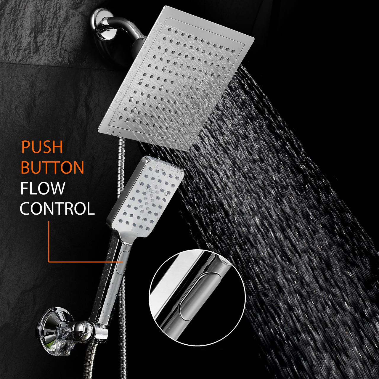 Dream Spa Ultra Luxury 9 Rainfall Shower Head Handheld Combo Convenient Push Button Flow Control Button For Easy One Handed Operation Switch Flow
