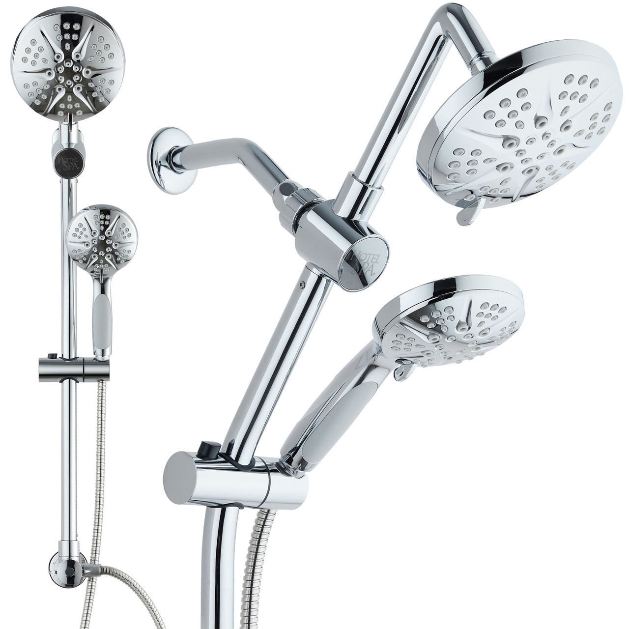 Spa Station 34 Adjustable Drill Free Slide Bar With 48 Setting Showerhead Combo Height Extension Arm 3 Way Rain Handheld Shower Head Low Reach