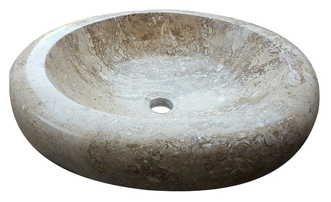 oval natural stone vessel sink noce travertine