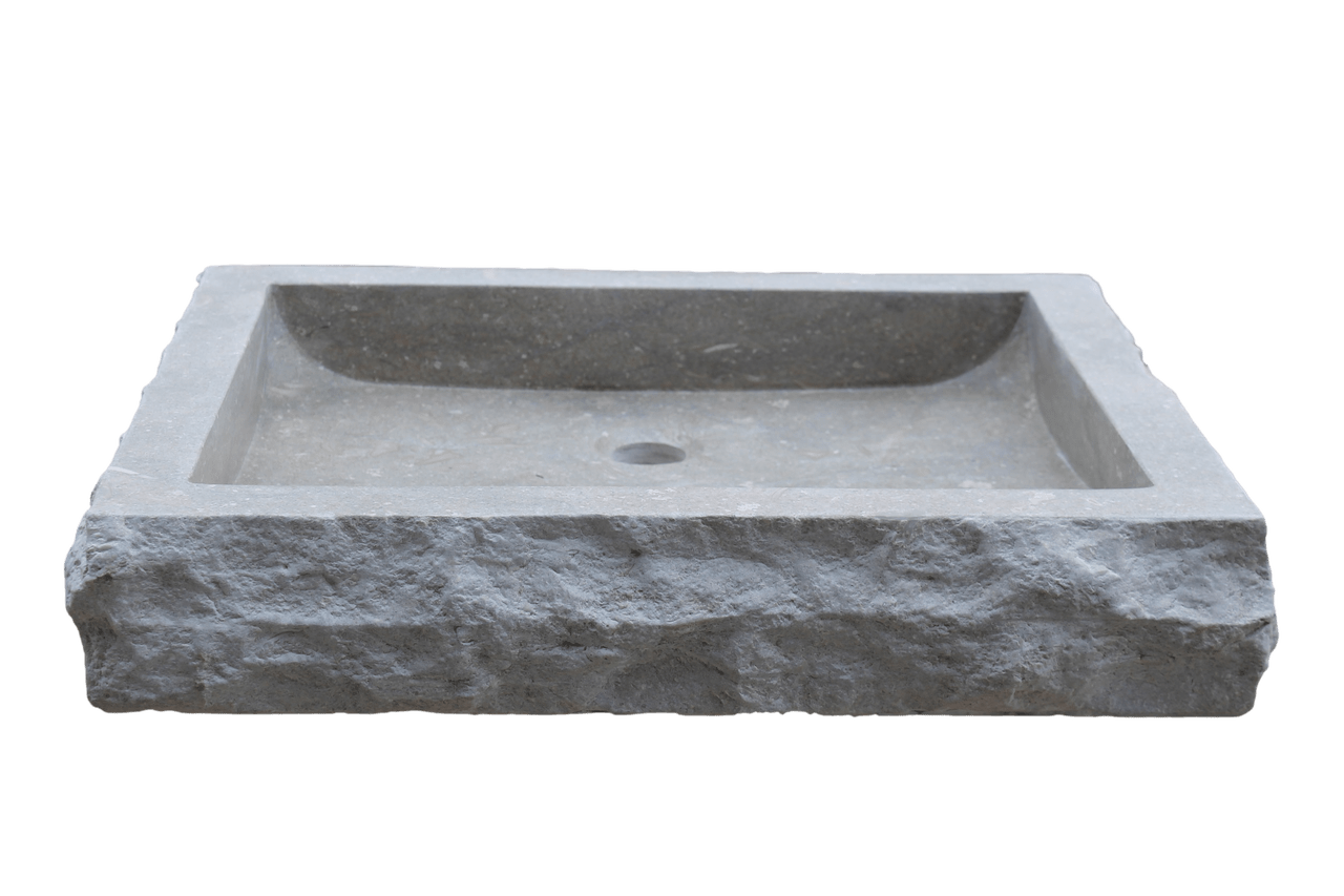 Rectangular Sinks Bathroom Chiseled Rectangular Natural Stone Vessel Sink Sea Grass Marble