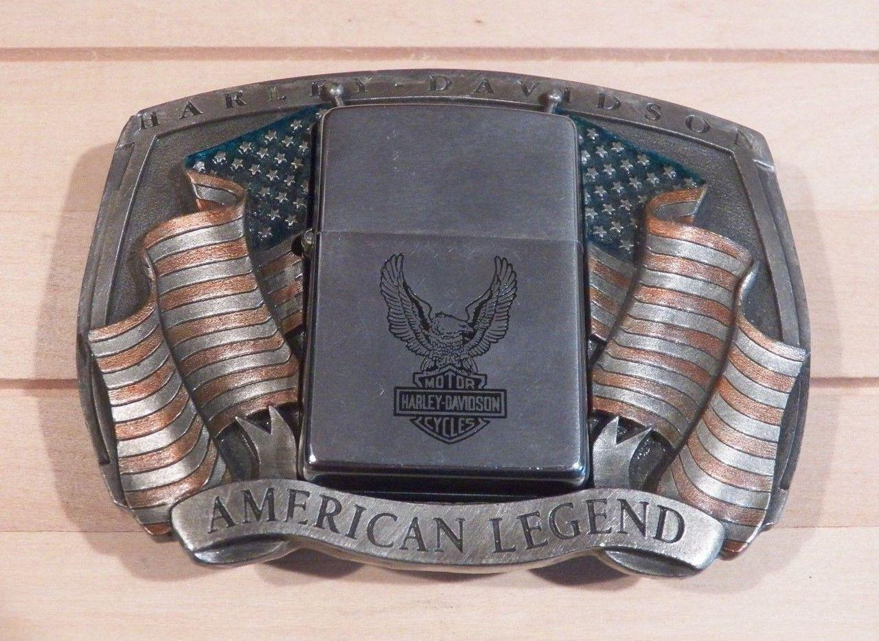 Harley-davidson Zippo Holder Pewter Belt Buckle With