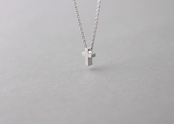 Tiny Cross Necklace Sterling Silver  kellinsilvercom