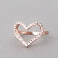 Swarovski Heart Ring Rose Gold - kellinsilver.com