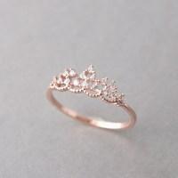 CZ Princess Tiara Ring Rose Gold - kellinsilver.com