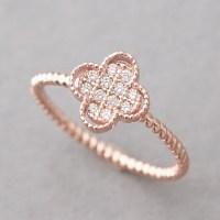 CZ Rose Gold 4 Leaf Clover Ring Sterling Silver ...