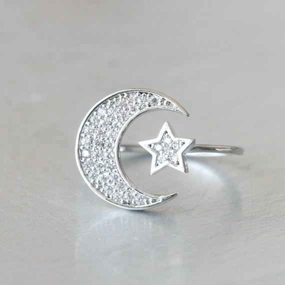 Swarovski Crescent Moon and Star Ring White Gold  kellinsilvercom