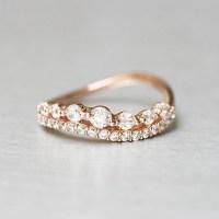 CZ Brilliant Rose Gold Wave Tiara Engagement Ring ...