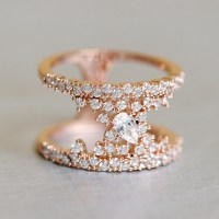Pave Tear Drop Rose Gold Phantom Double Ring Sterling ...