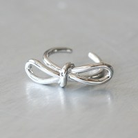 White Gold Promise Bow Knot Ring Sterling Silver ...