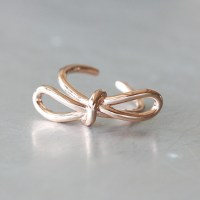 Rose Gold Promise Bow Knot Ring Sterling Silver ...