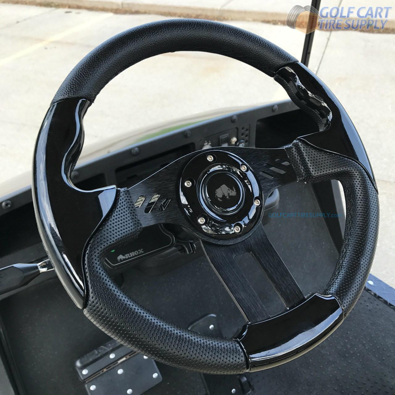 medium resolution of 13 aviator 5 black ez go golf cart steering wheel w black aluminum spokes golf cart tire supply
