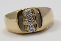 14k Yellow Gold Three Stone Diamond Mens Ring
