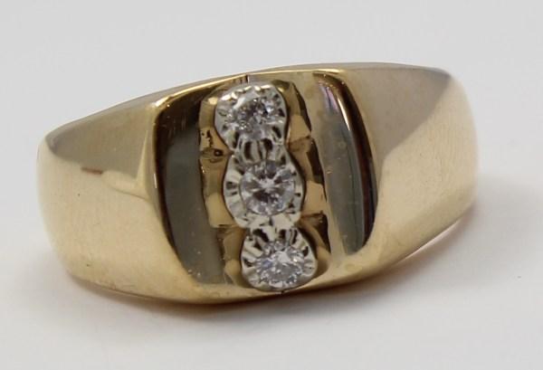 14k Yellow Gold Three Stone Diamond Mens Ring