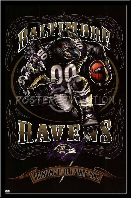 baltimore ravens vintage nfl poster grinding it out