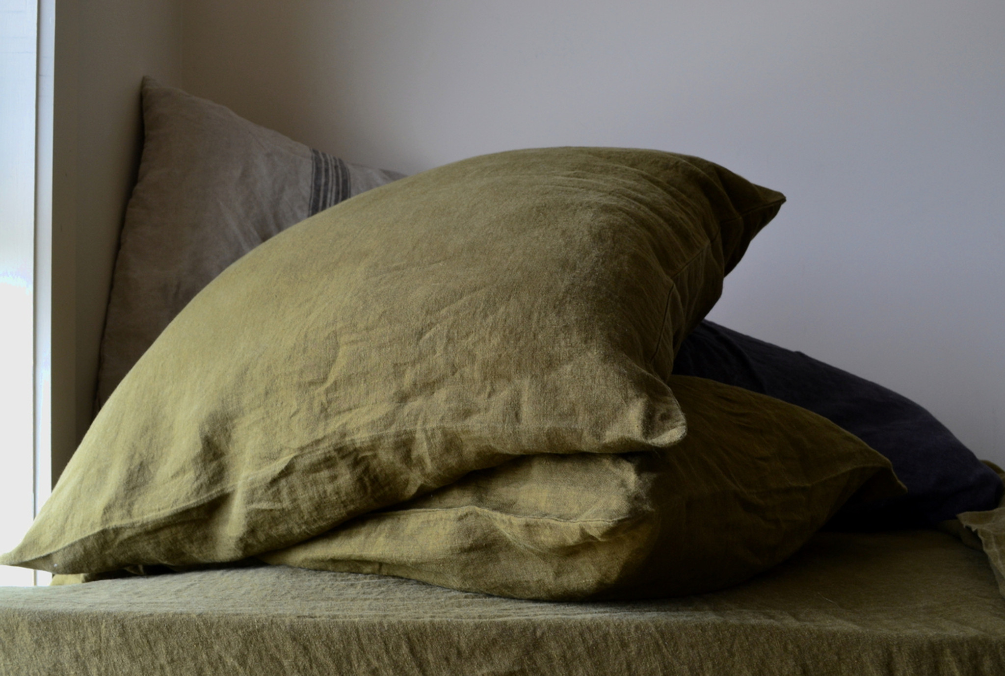 Olive green stonewashed linen pillowcase