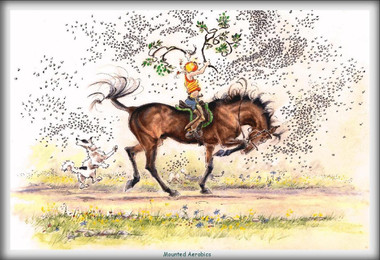 Mounted Aerobics Funny Horse Cards Jude Too Lesley