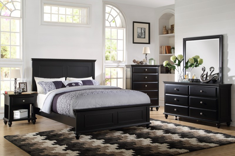 poundex bedroom furniture Poundex F9270 Coastal Living White Black Bedroom Set