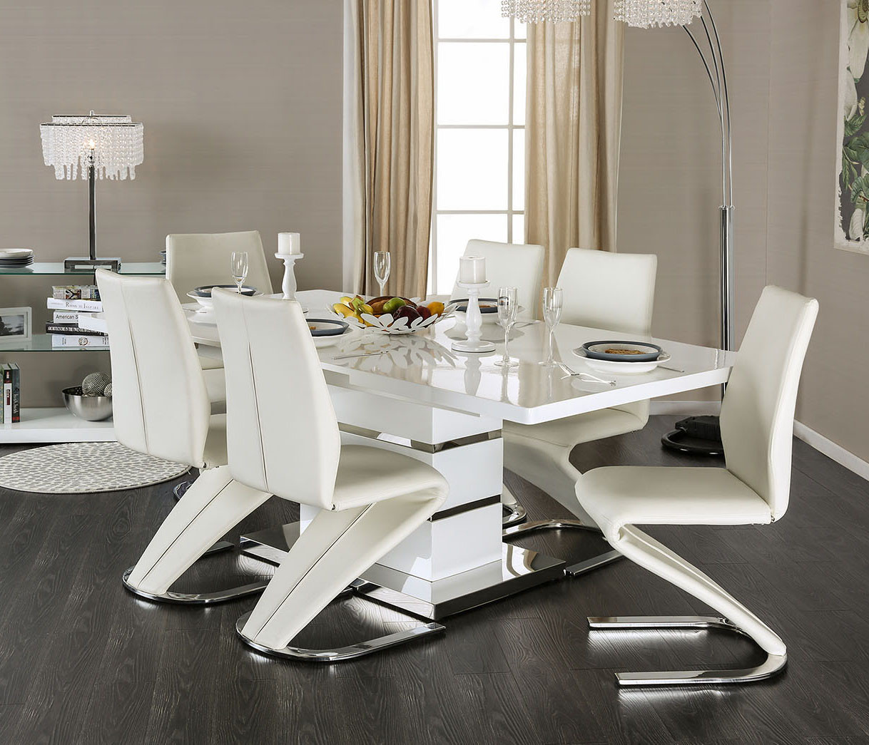 White Dining Room Chair Furniture Of America Midvale Cm3650t White Dining Set