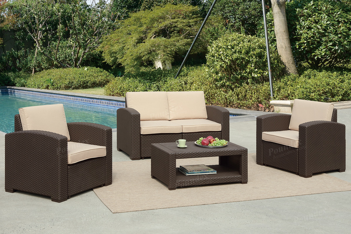 Wicker Patio Chair Poundex Lizkona 434 4 Pcs Outdoor Patio Sofa Set