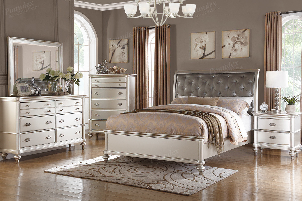 poundex bedroom furniture Poundex F9317 Platinum Silver Bed