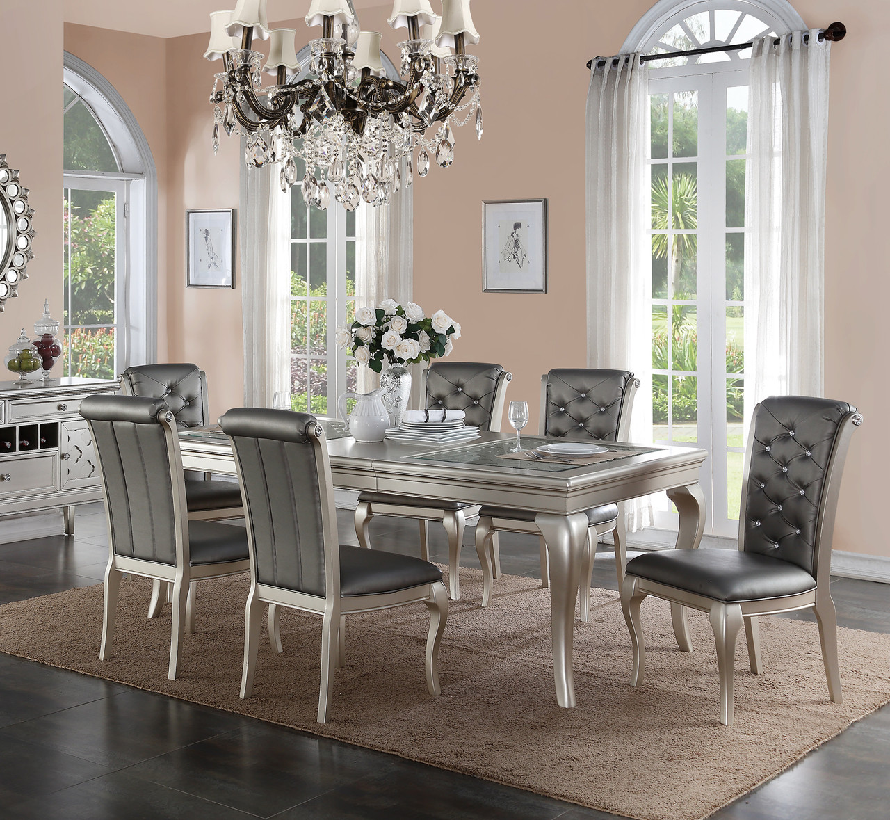 Silver Dining Chairs Poundex F2151 Metallic Silver Dining Table With Chairs