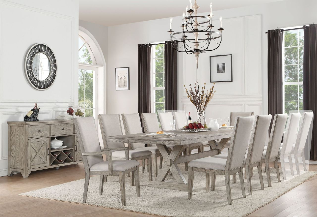 8 Chair Dining Set Acme 72860 Gray Oak Dining Table With 8 Chairs