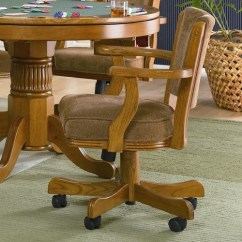 Chairs On Casters Bedroom Chair And Table Set Mason Oak Upholstered Arm Poker Gaming Game Club