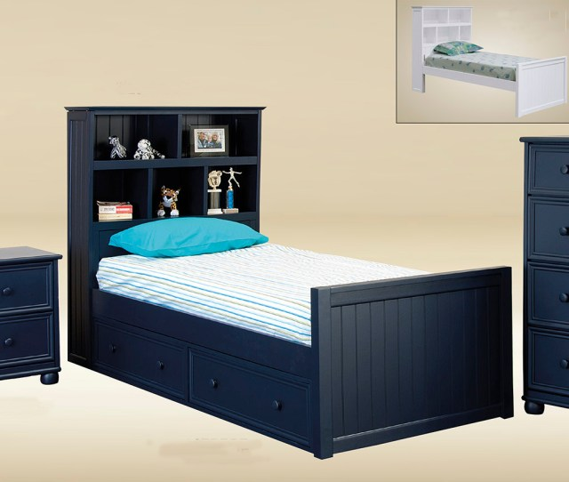 Navy Blue Captains Bed With Optional Drawers Trundle